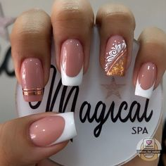 French Manicure Nail Designs, Manicure Y Pedicure, Hair And Nails, Nailart, Beauty, Finger Nails, Chic Nails, Polish Nails, Short Nail Manicure