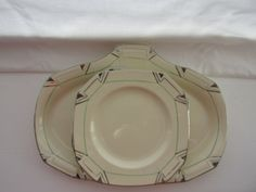 Art Deco Alfred Meakin marigold Princess style sandwich plate with 5 tea plates by HelloCollectors on Etsy