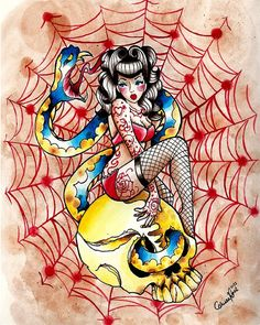 Traditional Style Pin Up Girl Tattoo Flash Death Becomes Her Art Print By Carissa Rose
