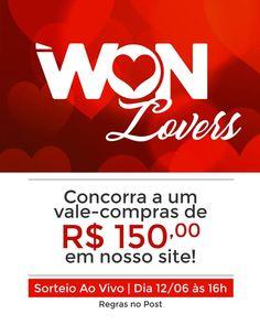 Quer ganhar R$ 150,00 em compras no nosso site neste ❤️Dia dos Namorados? 😱😱😱 🚩Veja como Participar:  ✔️Siga nosso instagram @wonoficial  ✔️Crie uma frase marcando uma pessoa especial!  ✔️Use a Hashtag  #WONLOVERS   Sorteio no dia 12/06 às 16h   #wonlovers #usewon #wonoficial #diadosnamorados #valentinesday #atutidewon #voucher #promocao