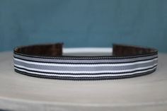 No Slip Black and White Striped Headband 7/8 in wide.  From Sweet Monkey Princess on Etsy.