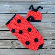 Crochet Knit Baby Newborn Lady Bug Hat and Cocoon Cover Sock by CrosStitching, $56.00