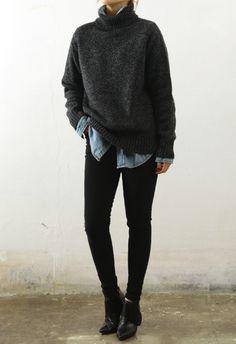 dark grey turtleneck, denim shirt, black buttons, black boots