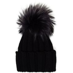 Inverni Cashmere and Fur Beanie (£185) ❤ liked on Polyvore featuring accessories, hats, black, cashmere beanie hat, cashmere beanie, black pom beanie, black cashmere hat and beanie cap