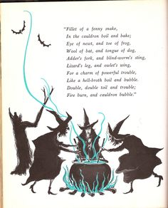 Macbeth's witches. Illustration from vintage Halloween book.