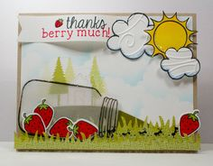 This scene card is absolutely fabulous! Lawn Fawn - Summertime Charm, Home Sweet Home, Sunny Skies, Let it Snow, Happy Summer, Smitty's ABCs _ Thanks Berry Much by LizzyC (ThisHausofCards), via Flickr