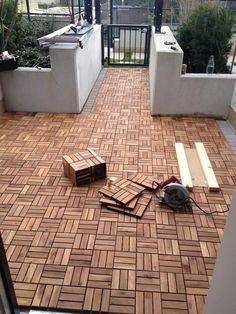 DIY Outdoor Patio Decking with Ikea Runneen formerly called platta 537 Patio Tiles, Patio Flooring, Ikea Outdoor Flooring, Ikea Deck Tiles, Flooring Tiles, Tile Floor, Outdoor Spaces, Outdoor Living, Small Backyards
