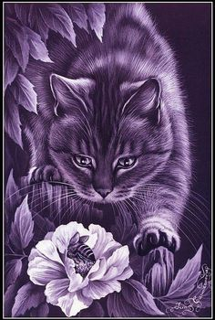 DIY Diamond Painting Cat Hunting the Bee - craft kit I Love Cats, Crazy Cats, Cute Cats, Gatos Cat, Image Chat, Photo Chat, Purple Cat, Here Kitty Kitty, Cat Drawing