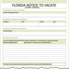 Florida Tenant Notice to Vacate