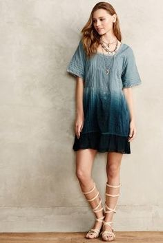 I would wear this to death! Anthropologie Ocean Dipped Tunic Dress #anthrofave #anthropologie
