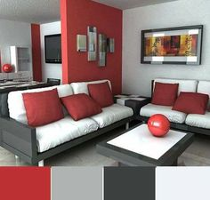 Red painted walls in living room red walls in living room decor Living Room Red, Elegant Living Room, Living Room Paint, Living Room Decor, Room Color Schemes, Room Colors, Bedroom Paint Design, Bedroom Red, Red Rooms