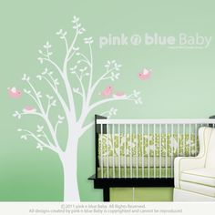 $67 Tree Wall Decals, Two nests on the Tree , Nursery Kids Removable Wall Vinyl Decal