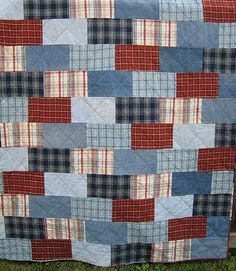 Brick Wall quilt, made with old blue jeans and flannel plaids. Good college quilt. Save jeans from high school. by diybric.blogspot.com