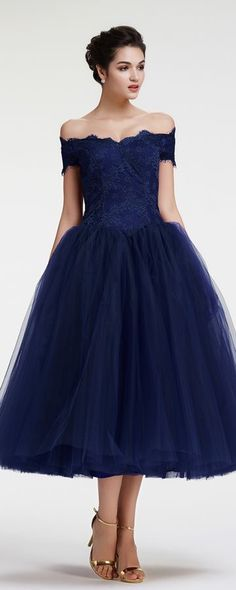 Navy Blue Off the Shoulder Ball Gown Vintage Evening Dress Tea Length Off the shoulder evening dresses tea length ball gown formal dresses vintage evening gown cocktail dresses Vintage Evening Gowns, Vintage Formal Dresses, Elegant Dresses, Pretty Dresses, Evening Dresses, Dress Formal, Tea Length Dresses, Ball Dresses, Ball Gowns