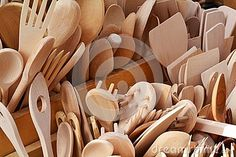Wooden spoons, forks and knives and other utensils.