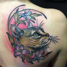 Dream Tattoos, Love Tattoos, Beautiful Tattoos, Body Art Tattoos, New Tattoos, Black Cat Tattoos, Animal Tattoos, Kitty Tattoos, 4 Tattoo