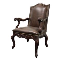 Han And Moore Bounty French Country Style Mahogany Leather Chair