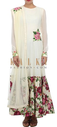 Buy Online from the link below. We ship worldwide (Free Shipping over US$100) http://www.kalkifashion.com/cream-anarkali-suit-embellished-in-print-and-resham-embroidery-only-on-kalki.html