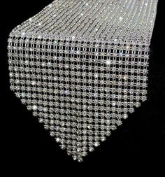This elegant crystal rhinestone table runner absolutely sparkles under any kind of light for your wedding, event or party. Centerpiece Decorations, Decoration Table, Bling Centerpiece, Bling Wedding Decorations, Diamond Decorations, Reception Decorations, Wedding Centerpieces, Diamond Party, Diamond Wedding Theme