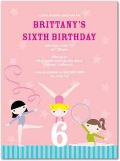 Gymnast Stars - Birthday Party Invitations in Bloom   Magnolia Press