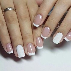 Easy nail art design ideas to try - pretty nail polish inspiration. If you're bored of your classic, monotone nail color and want to try out something pretty these Easy nail art design ideas to try. Latest Nail Designs, Simple Nail Art Designs, Easy Nail Art, French Nails, Cute Nails, Pretty Nails, Nail Deco, French Manicure Designs, Bridal Nails