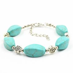 The Rustic Shop - Simple and Small Turquoise and Flower Bracelet, $4.99 (http://www.therusticshop.com/simple-and-small-turquoise-and-flower-bracelet/)