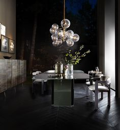 Eyl - table with bevelled painted glass top and wooden base covered by glass. Designed by Oscar e Gabriele Buratti for Gallotti&Radice.