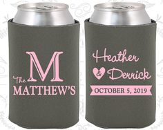 Monogram Can Coolers Wedding Can Coolers Custom by MyWeddingStore