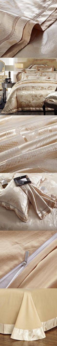 Home Textile Gold Jacquard satin bedding set king queen 4/6pcs Luxury duvet cover Tribute Silk bedclothes bed linen pillowcases
