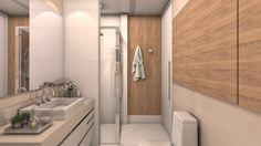 Decoração de apartamento pequeno, decoração minimal, banheiro, luz natural, marcenaria, lavanda, decor, bancada branca, revestimento, banheira, painel em madeira.
