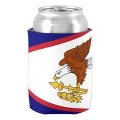 Can Cooler with flag of American Samoa USA. - trendy gifts cool gift ideas customize