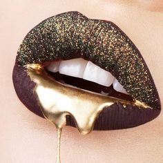 21 Ideas How To Use A Gold Glitter In Makeup ★ Lip Makeup Ideas With Gold Glitter picture 5 ★ See more: http://glaminati.com/gold-glitter/ #makeup #makeuplover #makeupjunkie #goldglitter