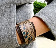 Leather Cuff Wrap Bracelet Twiggy Print & Olive Taupe by Hollyhawk