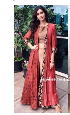 Diana Penty [Diana Penty looking gorgeous in this indo western dress.just loved the colors and everything'bout this dress] Indian Attire, Indian Ethnic Wear, Indian Outfits, Ethnic Suit, Estilo India, Collection Eid, Diana Penty, Party Kleidung, Desi Clothes