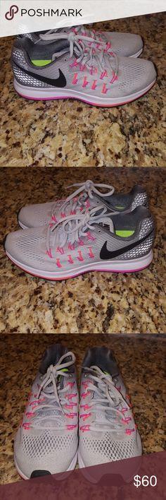 Clean Nike Air Zoom Pegasus 33 Women Running Shoe Sz 8 Grey Vibrant Workout Fit