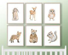 Woodland Nursery Prints, Woodland Baby, Woodland Animals, Nursery Wall Art, Nursery Ideas, Pet Portraits, Baby Animals, Art Prints, Etsy