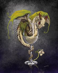 White Wine Dragon Digital Art by Stanley Morrison