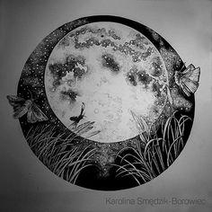Moon #dotwork #dot #drawing #blackandwhite #blackwork #black #iblackwork #illustration #graphic #multiliner #moon #moonlight #moth #circle #sky #stars