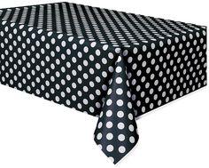 Plastic Black Polka Table Cover, 54