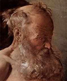 """Head of an Old Man   . Penitent St. Jerome"""",  Georges de la Tour."""