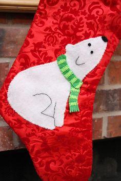Polar Bear applique stocking