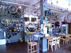 Look Mum No Hands, London. For more info on top-notch coffee spots in London… Bicycle Cafe, Bicycle Store, My Coffee Shop, Coffee Shops, Food Business Ideas, Cafe Interior, Bike Design, Picture Design, Bike Life