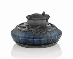 AN ALEXANDRE BIGOT (1862-1927) ART NOUVEAU STONEWARE AND PEWTER INKWELL, c 1900.