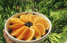 Oranges and blueberries
