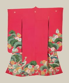 Yuzen Furisode, Late Meiji to early Taisho (1890-1920). A red kinsha-silk antique furisode featuring birds, flowers and pines masterfully created utilizing the yuzen resost-dye technique. Five large mon (family crests). The Kimono Gallery