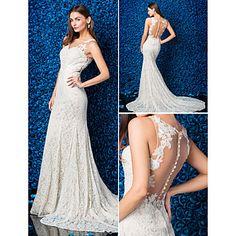 Lanting+Trumpet/Mermaid+Wedding+Dress+-+Champagne+Chapel+Train+Jewel+Lace+–+USD+$+189.99