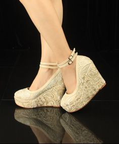 HIGH HEELS WEDGES WITH LACE CROCHET - this lace is pretty but they are too chunky for my dress