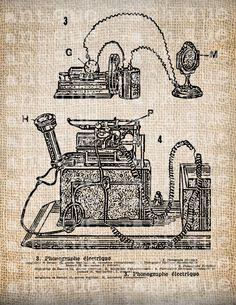 Antique French Phonograph Diagram Vintage Illustration Digital Download for Papercrafts, Transfer, Pillows, etc Burlap No. 4043. $1.00, via Etsy.