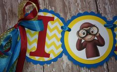 Curious George High chair birthday banner by MerryMakersPapier, $14.00