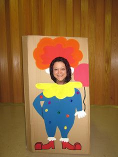 Our clown cutout for photos during the party.  I happened to have a box that was the perfect size and had a top flap that when angled open, made it stand up perfectly.  We placed a chair behind it for the little ones.  The kids got a kick out of it and obviously we grown ups did as well.